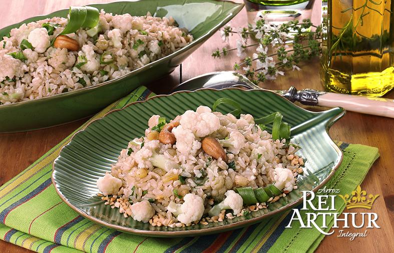 Receita Rei Arthur: arroz pilaf com castanhas e couve flor