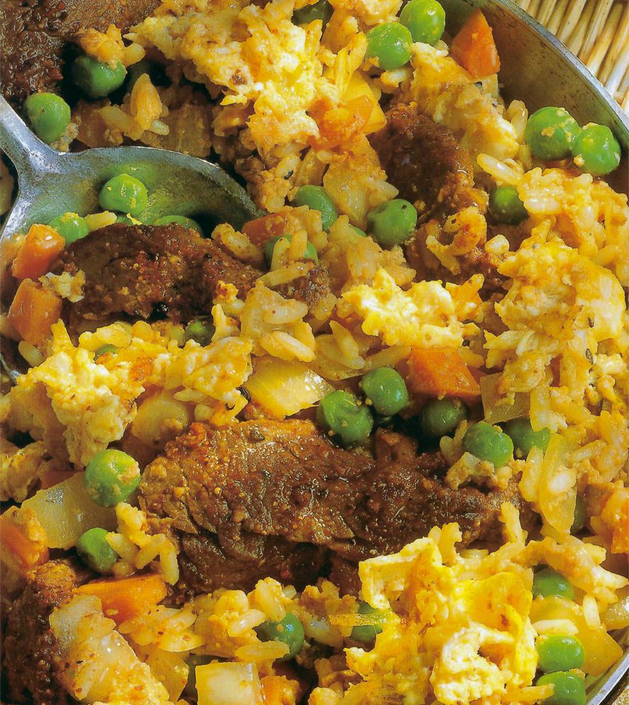 Receita de Salteado de arroz com ovo e carne